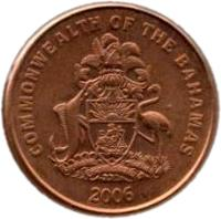 obverse of 1 Cent - Elizabeth II - Larger (2006 - 2007) coin with KM# 218.1 from Bahamas. Inscription: COMMONWEALTH OF THE BAHAMAS 2006