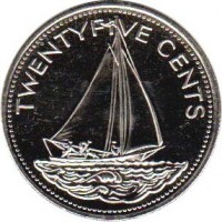 reverse of 25 Cents - Elizabeth II - Non magnetic (1991 - 2005) coin with KM# 63.2 from Bahamas. Inscription: TWENTYFIVE CENTS