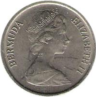 obverse of 10 Cents - Elizabeth II - 2'nd Portrait (1970 - 1985) coin with KM# 17 from Bermuda. Inscription: BERMUDA ELIZABETH II