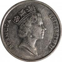 obverse of 25 Cents - Elizabeth II - 3'rd Portrait (1986 - 1998) coin with KM# 47 from Bermuda. Inscription: BERMUDA ELIZABETH II