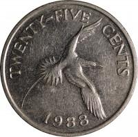 reverse of 25 Cents - Elizabeth II - 3'rd Portrait (1986 - 1998) coin with KM# 47 from Bermuda. Inscription: TWENTY-FIVE CENTS 1988