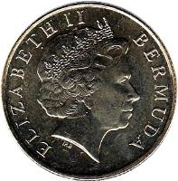 obverse of 1 Dollar - Elizabeth II - 4'th Portrait (1999 - 2009) coin with KM# 111 from Bermuda. Inscription: ELIZABETH II BERMUDA