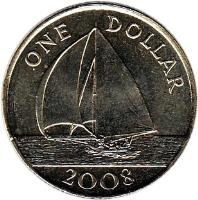 reverse of 1 Dollar - Elizabeth II - 4'th Portrait (1999 - 2009) coin with KM# 111 from Bermuda. Inscription: ONE DOLLAR 2001