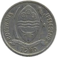 obverse of 10 Thebe - FAO: Self-Sufficiency (1976 - 1989) coin with KM# 5 from Botswana. Inscription: BOTSWANA IPELEGENG PULA 1989