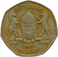 obverse of 1 Pula (1991 - 2007) coin with KM# 24 from Botswana. Inscription: BOTSWANA IPELEGENG PULA 1997