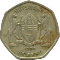 obverse of 2 Pula (1994) coin with KM# 25 from Botswana. Inscription: BOTSWANA IPELEGENG PULA 1994