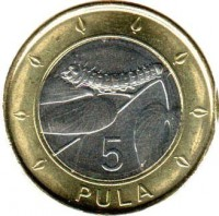 reverse of 5 Pula (2013) coin with KM# 37 from Botswana. Inscription: 5 PULA