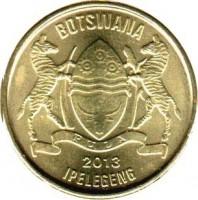 obverse of 1 Pula (2013) coin with KM# 35 from Botswana. Inscription: BOTSWANA 2013 IPELEGENG