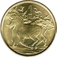 reverse of 1 Pula (2013) coin with KM# 35 from Botswana. Inscription: 1 PULA