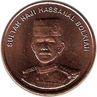 obverse of 1 Sen - Hassanal Bolkiah - 2'nd Portrait (1993 - 2006) coin with KM# 34 from Brunei. Inscription: SULTAN HAJI HASSANAL BOLKIAH