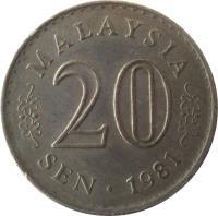 reverse of 20 Sen - Yang di-Pertuan Agong (1967 - 1988) coin with KM# 4 from Malaysia. Inscription: MALAYSIA 20 SEN 1988