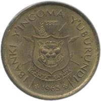 obverse of 1 Franc - Mwambutsa IV (1965) coin with KM# 6 from Burundi. Inscription: IBANKI Y'INGOMA Y'UBURUNDI CANZA SABWA 1965