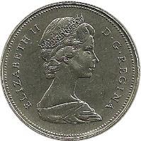 obverse of 50 Cents - Elizabeth II - 2'nd Portrait (1968 - 1989) coin with KM# 75 from Canada. Inscription: ELIZABETH II D · G · REGINA