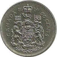 reverse of 50 Cents - Elizabeth II - 2'nd Portrait (1968 - 1989) coin with KM# 75 from Canada. Inscription: 19 80 CANADA 50 CENTS