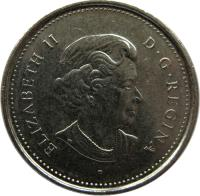 obverse of 5 Cents - Elizabeth II - 4'th Portrait (2003 - 2017) coin with KM# 491 from Canada. Inscription: ELIZABETH II D · G · REGINA P