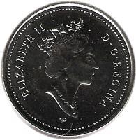 obverse of 5 Cents - Elizabeth II - 3'rd Portrait (1999 - 2003) coin with KM# 182b from Canada. Inscription: ELIZABETH II D · G · REGINA P