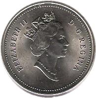 obverse of 5 Cents - Elizabeth II - 3'rd Portrait (1990 - 2001) coin with KM# 182 from Canada. Inscription: ELIZABETH II D · G · REGINA