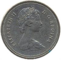obverse of 5 Cents - Elizabeth II - 2'nd Portrait (1982 - 1989) coin with KM# 60.2a from Canada. Inscription: ELIZABETH II D · G · REGINA