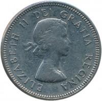 obverse of 5 Cents - Elizabeth II - 1'st Portrait (1963 - 1964) coin with KM# 57 from Canada. Inscription: ELIZABETH II DEI GRATIA REGINA