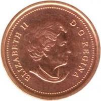 obverse of 1 Cent - Elizabeth II - Non magnetic; 4'th Portrait (2003 - 2012) coin with KM# 490 from Canada. Inscription: ELIZABETH II D · G · REGINA