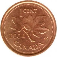 reverse of 1 Cent - Elizabeth II - Non magnetic; 4'th Portrait (2003 - 2012) coin with KM# 490 from Canada. Inscription: 1CENT 2004 K · G CANADA