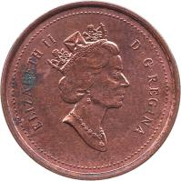 obverse of 1 Cent - Elizabeth II - Round; 3'rd Portrait (1997 - 2003) coin with KM# 289 from Canada. Inscription: ELIZABETH II D · G · REGINA