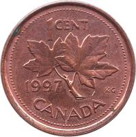 reverse of 1 Cent - Elizabeth II - Round; 3'rd Portrait (1997 - 2003) coin with KM# 289 from Canada. Inscription: 1 CENT 1999 K · G CANADA