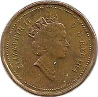 obverse of 1 Cent - Elizabeth II - Dodecagonal; 3'rd Portrait (1990 - 1996) coin with KM# 181 from Canada. Inscription: ELIZABETH II D · G · REGINA