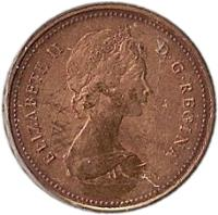 obverse of 1 Cent - Elizabeth II - Round; 2'nd Portrait (1980 - 1981) coin with KM# 127 from Canada. Inscription: ELIZABETH II D · G · REGINA