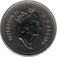 obverse of 50 Cents - Elizabeth II - 3'rd Portrait (1997 - 2000) coin with KM# 290 from Canada. Inscription: ELIZABETH II D · G · REGINA