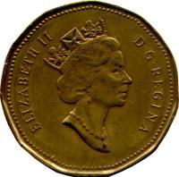 obverse of 1 Dollar - Elizabeth II - 3'rd Portrait (1990 - 2003) coin with KM# 186 from Canada. Inscription: ELIZABETH II D · G · REGINA