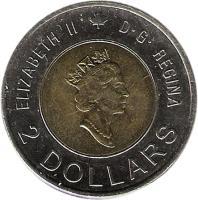 obverse of 2 Dollars - Elizabeth II - Knowledge (2000) coin with KM# 399 from Canada. Inscription: ELIZABETH II D · G · REGINA 2 DOLLARS