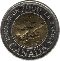 reverse of 2 Dollars - Elizabeth II - Knowledge (2000) coin with KM# 399 from Canada. Inscription: KNOWLEDGE 2000 LE SAVOIR CANADA
