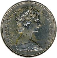 obverse of 1 Dollar - Elizabeth II - 2'nd Portrait (1968 - 1976) coin with KM# 76 from Canada. Inscription: ELIZABETH II D · G · REGINA