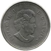 obverse of 5 Cents - Elizabeth II - 4'th Portrait (2006) coin with KM# 491b from Canada. Inscription: ELIZABETH II D · G · REGINA