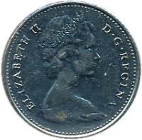 obverse of 10 Cents - Elizabeth II - Philadelphia mint; 2'nd Portrait (1968) coin with KM# 73 from Canada. Inscription: ELIZABETH II D · G · REGINA