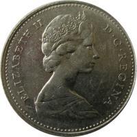 obverse of 10 Cents - Elizabeth II - Ottawa mint; 2'nd Portrait (1968) coin with KM# 72a from Canada. Inscription: ELIZABETH II D · G · REGINA