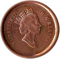 obverse of 1 Cent - Elizabeth II - Magnetic; 4'th Portrait (2003 - 2012) coin with KM# 490a from Canada. Inscription: ELIZABETH II D · G · REGINA