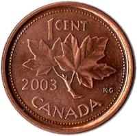 reverse of 1 Cent - Elizabeth II - Magnetic; 4'th Portrait (2003 - 2012) coin with KM# 490a from Canada. Inscription: 1 CENT 2003 K.G. CANADA