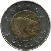 reverse of 2 Dollars - Elizabeth II - 4'th Portrait (2006 - 2012) coin with KM# 837 from Canada. Inscription: CANADA 2 DOLLARS