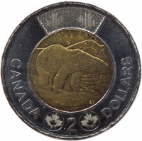 reverse of 2 Dollars - Elizabeth II - 4'th Portrait (2012 - 2015) coin with KM# 1257 from Canada. Inscription: CANADA 2 DOLLARS
