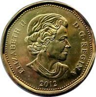obverse of 1 Dollar - Elizabeth II - 4'th Portrait (2012 - 2015) coin with KM# 1255 from Canada. Inscription: ELIZABETH II D.G.REGINA