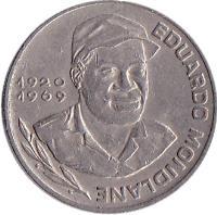 obverse of 10 Escudos (1977 - 1982) coin with KM# 19 from Cape Verde. Inscription: EDUARDO MONDLANE 1920 1969