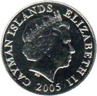 obverse of 5 Cents - Elizabeth II - 4'th Portrait (1999 - 2008) coin with KM# 132 from Cayman Islands. Inscription: CAYMAN ISLANDS ELIZABETH II 1999