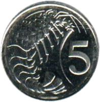 reverse of 5 Cents - Elizabeth II - 4'th Portrait (1999 - 2008) coin with KM# 132 from Cayman Islands. Inscription: 5