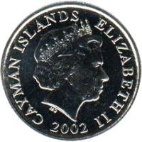 obverse of 10 Cents - Elizabeth II - 4'th Portrait (1999 - 2008) coin with KM# 133 from Cayman Islands. Inscription: CAYMAN ISLANDS ELIZABETH II 1999