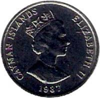 obverse of 5 Cents - Elizabeth II - 3'rd Portrait (1987 - 1990) coin with KM# 88 from Cayman Islands. Inscription: CAYMAN ISLANDS ELIZABETH II 1996