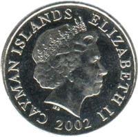 obverse of 25 Cents - Elizabeth II - 4'th Portrait (1999 - 2008) coin with KM# 134 from Cayman Islands. Inscription: CAYMAN ISLANDS ELIZABETH II 1999