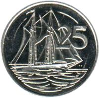 reverse of 25 Cents - Elizabeth II - 4'th Portrait (1999 - 2008) coin with KM# 134 from Cayman Islands. Inscription: 25