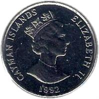 obverse of 25 Cents - Elizabeth II - 3'rd Portrait; Magnetic (1992 - 1996) coin with KM# 90a from Cayman Islands. Inscription: CAYMAN ISLANDS QUEEN ELIZABETH II 1992